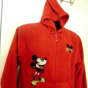 Mickey Mouse Women Disney Fleece Red Zippered Hood